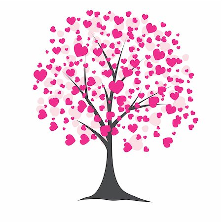 Tree with pink hearts for you. Vector illustration Stock Photo - Budget Royalty-Free & Subscription, Code: 400-04803004