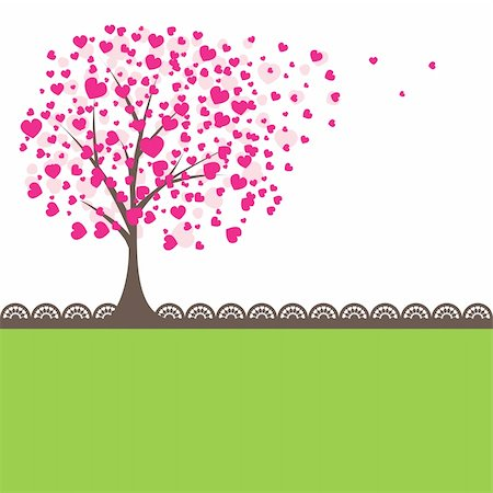 Tree with pink hearts for you. Vector illustration Stock Photo - Budget Royalty-Free & Subscription, Code: 400-04803003