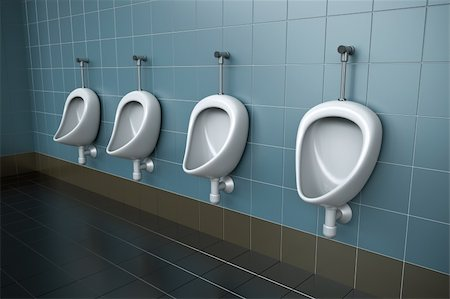 Row of four urinals. 3D rendered image. Stock Photo - Budget Royalty-Free & Subscription, Code: 400-04814206