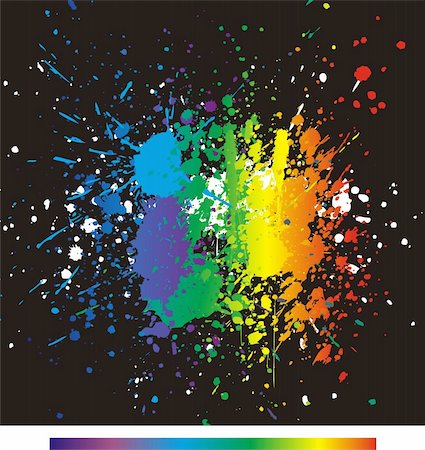 dripping colour art - Illustration of color paint splashes on black background. Stock Photo - Budget Royalty-Free & Subscription, Code: 400-04814773