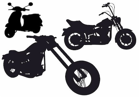 sports scooters - set of motorbike silhouettes, vector illustration Stock Photo - Budget Royalty-Free & Subscription, Code: 400-04815101