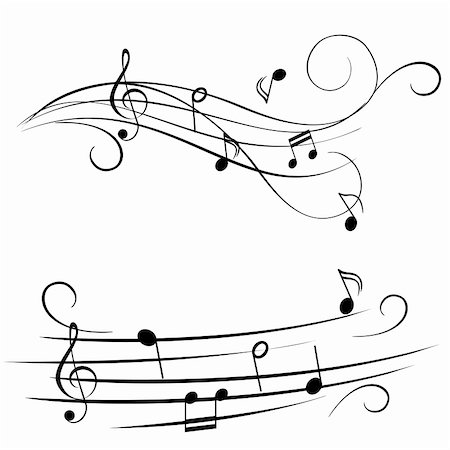 swirl graphic score - Music notes on stave Stock Photo - Budget Royalty-Free & Subscription, Code: 400-04815118