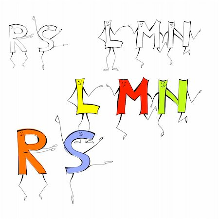 fancy letters - Set of cartoon style letters L, M, N, R, S Stock Photo - Budget Royalty-Free & Subscription, Code: 400-04815999