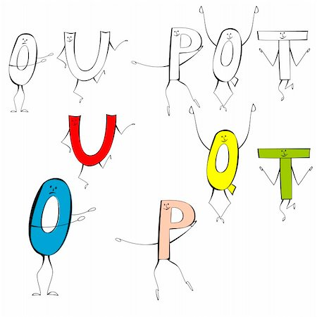 fancy letters - Set of cartoon style letters U, O, P, Q, T Stock Photo - Budget Royalty-Free & Subscription, Code: 400-04816000