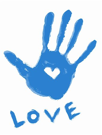 blue handprint with love symbol and ''love'' word Stock Photo - Budget Royalty-Free & Subscription, Code: 400-04816015