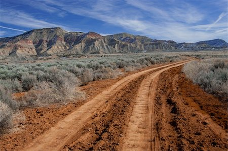 road landscape - A rough dirt road leads into the North Fruita Desert in western Colorado. Stock Photo - Budget Royalty-Free & Subscription, Code: 400-04817693