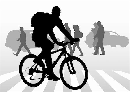 Vector drawing silhouette of a cyclist boy. Silhouette of people Stock Photo - Budget Royalty-Free & Subscription, Code: 400-04818272