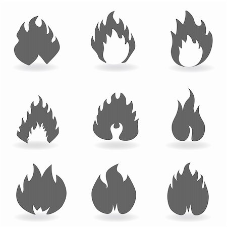 sparks pictures with white background - Fire and flames symbols in gray Stock Photo - Budget Royalty-Free & Subscription, Code: 400-04818536
