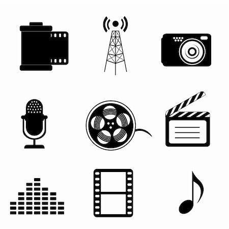 Mass media icons in black Stock Photo - Budget Royalty-Free & Subscription, Code: 400-04818568