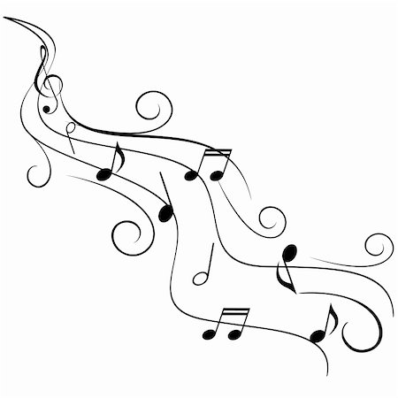 Music notes on swirling stave Stock Photo - Budget Royalty-Free & Subscription, Code: 400-04818569