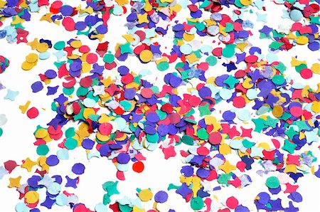 party celebration paper confetti - a pile of confetti of different colors on a white background Stock Photo - Budget Royalty-Free & Subscription, Code: 400-04818685