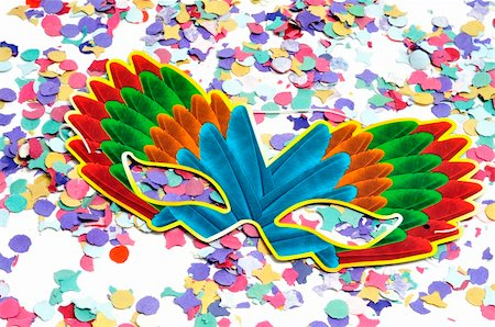 colorful carnival mask and confetti of different colors Stock Photo - Budget Royalty-Free & Subscription, Code: 400-04818691