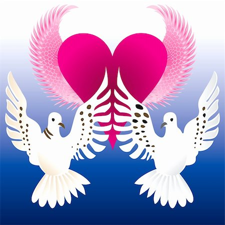 simsearch:400-04863562,k - Vector Illustration of Love Doves with flying heart. Stock Photo - Budget Royalty-Free & Subscription, Code: 400-04819152