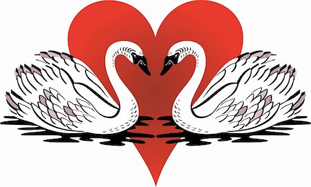 Vector Illustration of love swans swimming with red heart. Stock Photo - Budget Royalty-Free & Subscription, Code: 400-04819153