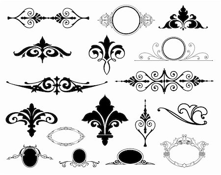 pretty in black clipart - Decorative Floral Design Elements editable vector illustration Stock Photo - Budget Royalty-Free & Subscription, Code: 400-04810832