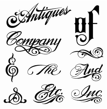 Ornate cursive ornaments. Different text. Vector illustration Stock Photo - Budget Royalty-Free & Subscription, Code: 400-04810955