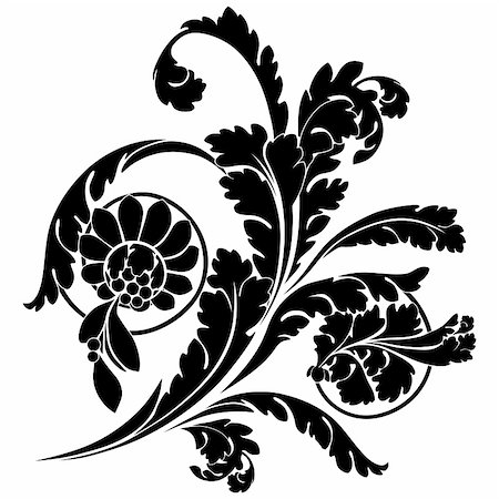 filigree tree - Swirls and flowers. Elegance vector illustration in black. Stock Photo - Budget Royalty-Free & Subscription, Code: 400-04811349