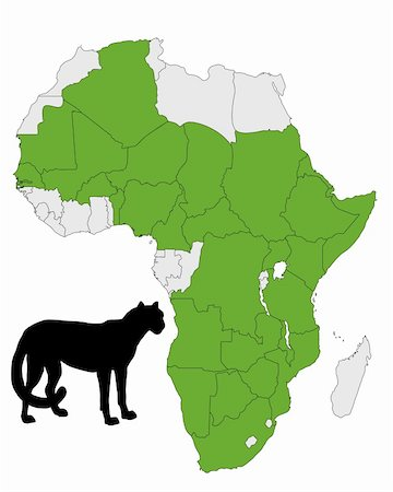 Cheetah distribution Africa Stock Photo - Budget Royalty-Free & Subscription, Code: 400-04811407