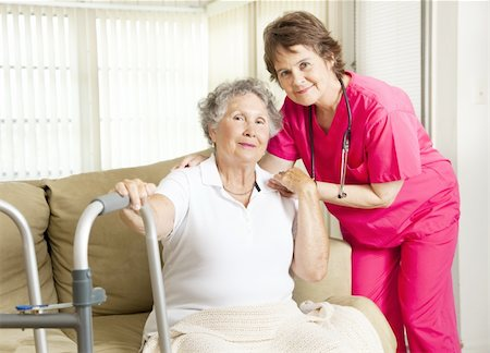 Friendly nurse cares for an elderly woman in a nursing home. Stock Photo - Budget Royalty-Free & Subscription, Code: 400-04811587