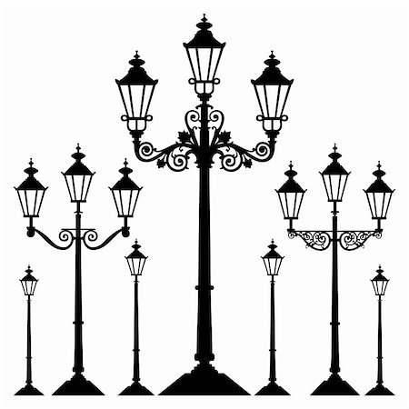 elakwasniewski (artist) - Set of antique retro street light lamps, isolated on white background,  full scalable vector graphic. Stock Photo - Budget Royalty-Free & Subscription, Code: 400-04812337