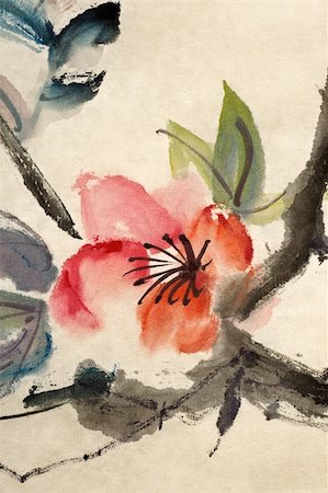Chinese traditional ink painting, flower, on art paper. Stock Photo - Budget Royalty-Free & Subscription, Code: 400-04824172