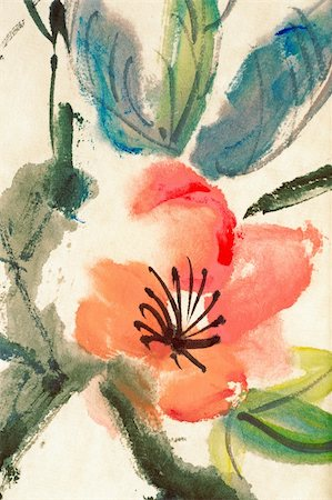 Colorful Chinese painting, flower and leaves, on art paper. Stock Photo - Budget Royalty-Free & Subscription, Code: 400-04824173