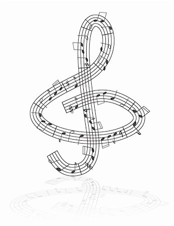 Treble clef made from notes - abstract musical illustration Stock Photo - Budget Royalty-Free & Subscription, Code: 400-04824697