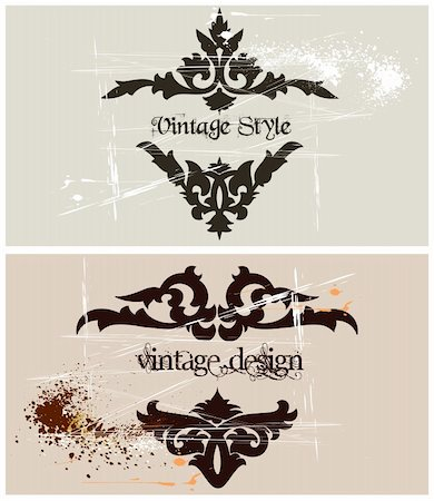 Two Vintage template frame. Vector art illustration Stock Photo - Budget Royalty-Free & Subscription, Code: 400-04825214