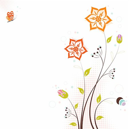 filigree designs in trees and insects - Decorative Floral theme with butterfly, vector illustration Stock Photo - Budget Royalty-Free & Subscription, Code: 400-04825471