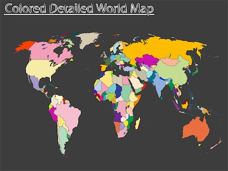 colored detailed world map, abstract vector art illustration Stock Photo - Budget Royalty-Free & Subscription, Code: 400-04829694