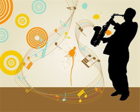 Jazz saxophonist retro theme. Vector illustration for design use. Stock Photo - Budget Royalty-Free & Subscription, Code: 400-04829800