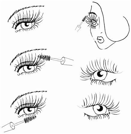 face woman beautiful clipart - eye lash face woman cosmetic make-up icons set Stock Photo - Budget Royalty-Free & Subscription, Code: 400-04820580
