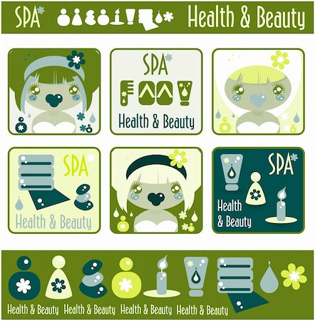Big lady's health, beauty and spa icons set. Girls and objects emblem from big kids labels collection Stock Photo - Budget Royalty-Free & Subscription, Code: 400-04820853