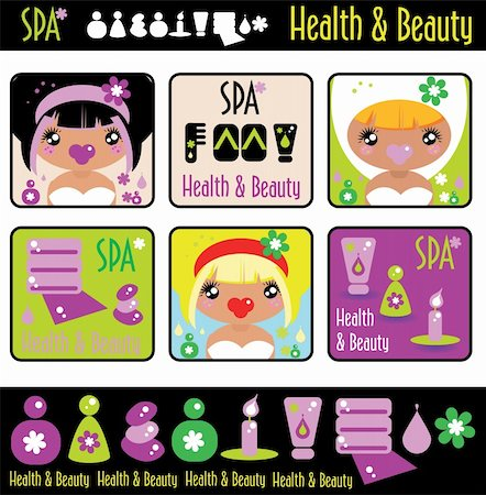 Big lady's health, beauty and spa icons set. Girls and objects emblem from big kids labels collection Stock Photo - Budget Royalty-Free & Subscription, Code: 400-04820921