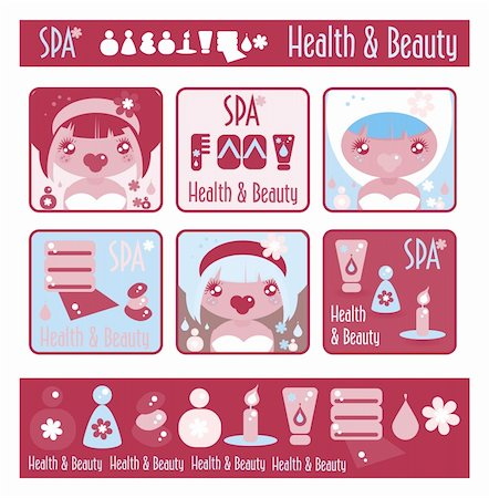 Big lady's health, beauty and spa icons set. Girls and objects emblem from big kids labels collection Stock Photo - Budget Royalty-Free & Subscription, Code: 400-04820949