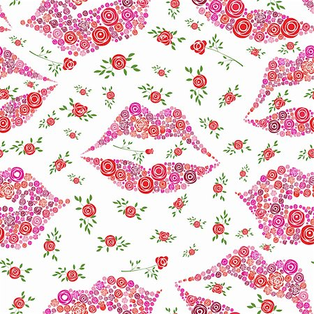 Love background with seamless pattern of rose shape in lips and smile, vector illustration.Vector version of this image also available in my portfolio Stock Photo - Budget Royalty-Free & Subscription, Code: 400-04821844
