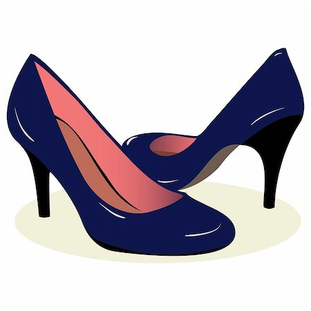 blue high heel shoes. Vector illustration. White background Stock Photo - Budget Royalty-Free & Subscription, Code: 400-04822087