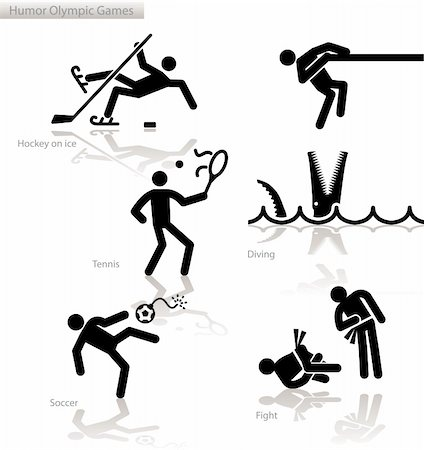 Olympic games see through an humour point of view. Set 3.  In detail: Ice Hockey, Diving, Tennis, Soccer, Fighting Stock Photo - Budget Royalty-Free & Subscription, Code: 400-04822572