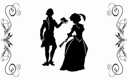 The young man in a XIX-th century suit reads verses to the girl in the elegant dress, holding a fan. Stock Photo - Budget Royalty-Free & Subscription, Code: 400-04822984