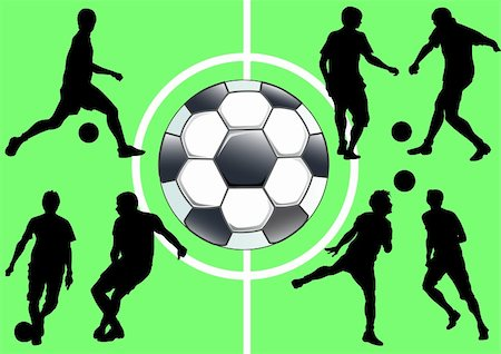 Vector drawing sports football team. Silhouette people Stock Photo - Budget Royalty-Free & Subscription, Code: 400-04822996