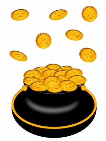 Saint Patricks Day Pot of Gold with Shamrock Coins Illustration Stock Photo - Budget Royalty-Free & Subscription, Code: 400-04823423