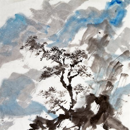 Chinese painting of traditional ink artwork of landscape with mountains and pine tree. Stock Photo - Budget Royalty-Free & Subscription, Code: 400-04835252
