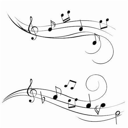 Various music notes on stave Stock Photo - Budget Royalty-Free & Subscription, Code: 400-04835577