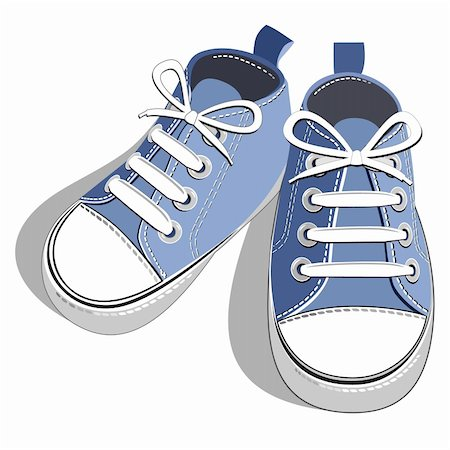 elakwasniewski (artist) - Blue children's shoes isolated on a white background. Vector illustration. Stock Photo - Budget Royalty-Free & Subscription, Code: 400-04835863