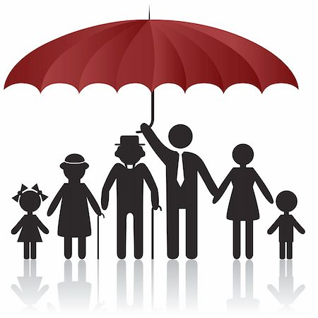 svetap (artist) - Silhouettes of woman man kid grandfather grandmother family under umbrella cover. Vector illustration. Element for design icon Stock Photo - Budget Royalty-Free & Subscription, Code: 400-04835939