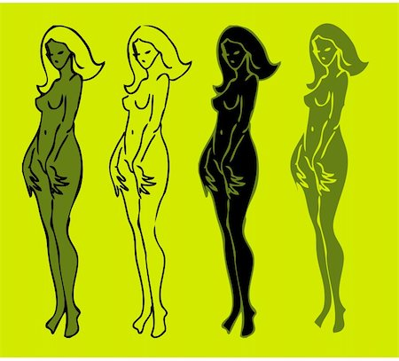 4 emblems variations of beautiful nude woman silhouette Stock Photo - Budget Royalty-Free & Subscription, Code: 400-04836021