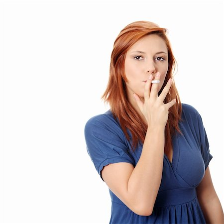 Young woman smoking electronic cigarette (ecigarette), isolated on white Stock Photo - Budget Royalty-Free & Subscription, Code: 400-04836466
