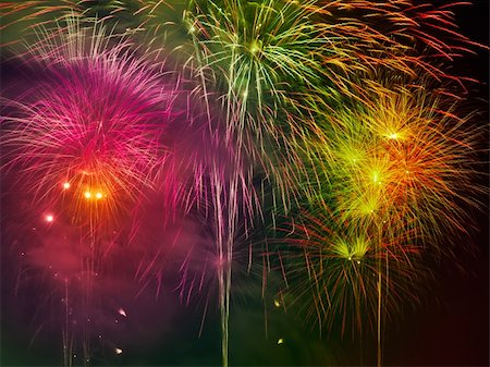 Colorful Fire Work at night Stock Photo - Budget Royalty-Free & Subscription, Code: 400-04836497