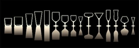 glasses for various alcoholic drinks.inversion of the light Stock Photo - Budget Royalty-Free & Subscription, Code: 400-04836737
