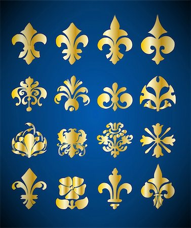 Gold Floral Design Elements. Vector set Stock Photo - Budget Royalty-Free & Subscription, Code: 400-04836999